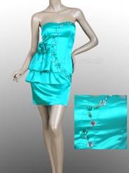 Бирюзовое платье с цветком и стразами