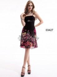 Коктейльное платье с блёстками и принтом
