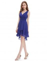 Синее шифоновое платье с открытой спиной