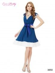 Сине-белое шифоновое винтажное платье