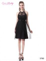 Черное платье с прозрачным верхом и цветами