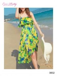 Летнее асимметричное платье с принтом