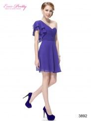 Синее платье с рукавом-бабочкой