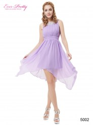 Сиреневое асимметричное платье с аппликацией