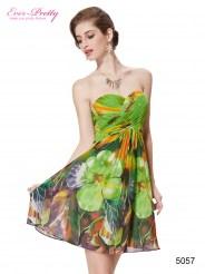 Коктейльное платье без бретелек с ярким принтом