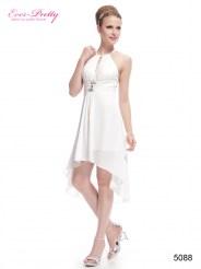 Белое асимметричное платье со стразами