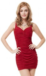 Короткое платье цвета марсала с драпировкой