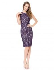 Фиолетовое платье-карандаш с кружевом