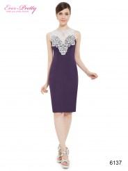 Фиолетовое платье-футляр с белым кружевом