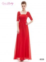 Длинное красное платье с кружевными рукавами