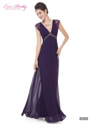 Фиолетовое шифоновое платье с кружевом