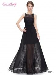 Черное шифоновое платье с кружевом и пайетками