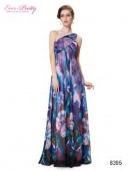 Пурпурное платье на одно плечо с принтом
