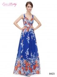 Синее шифоновое платье с принтом и драпировкой