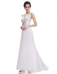 Белое вечернее платье с V-образным вырезом