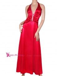 Эффектное красное платье с завязками на шее