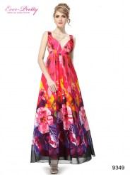 Длинное красное платье с принтом