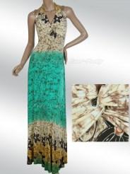 Винтажное разноцветное платье с завязками на шее