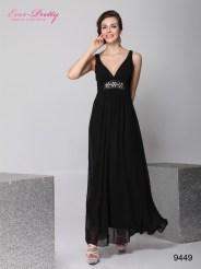 Легкое черное платье с бисером и кристаллами
