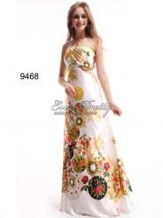 Белое атласное платье с цветочным принтом
