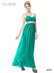 Зеленое вечернее платье на тонких бретельках