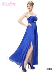 Атласное платье без бретелек с разрезом