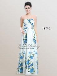 Шифоновое платье без бретелек с принтом