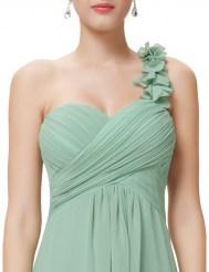 Фисташковое платье на одно плечо