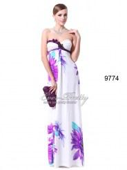 Белое платье без бретелек с принтом