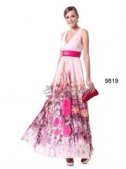 Шифоновое платье с принтом и брошью