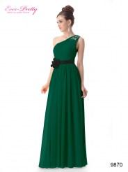 Зеленое платье с цветком и стразами