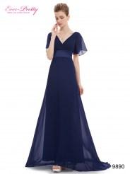 Длинное темно-синее платье с коротким рукавом