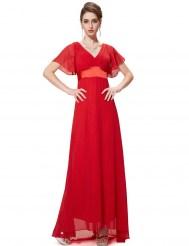 Длинное ярко-красное платье с коротким рукавом