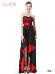 Черно-красное платье с кружевом и цветком