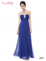 Элегантное ярко-синее платье со стразами