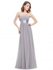 Серое шифоновое платье без бретелек