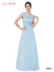 Элегантное голубое платье с кружевным верхом