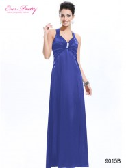 Синее платье с брошью и открытой спиной